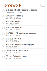 The program even has the option to organize by due date--- perfect for assignments!