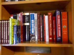 """The bottom right shelf houses books for class (plus War & Peace, and my teeny tiny reference section).  """"Textbooks"""" are organized by class (which are organized by when they meet), then alphabetically by author."""