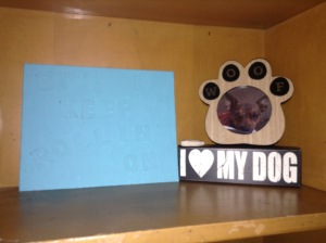 "Along with the food we've got a pretty little shrine shout-out to my dog and another DIY.  It's hard to see in the photo, but the canvas reads ""But I keep rollin' on,"" a L5Y reference (surprised?)."