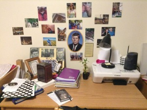 A real desk, too, of course!  Photos of friends, family, and Jack, plus my rather absurd pile of notebooks for my online courses.