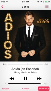 I've loved Ricky Martin for more than a decade.  His new album, Adios, is everything I'd hoped and more, and the title song is perfect.  I've listened to the English version enough that I can pretty much understand the Spanish!